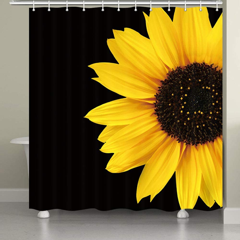 JAWO Sunflower Shower Curtain, Autumal Wild Flower Half Zoom Up Sunflower Nature Black and Yellow Art Bath Curtain for Bathroom