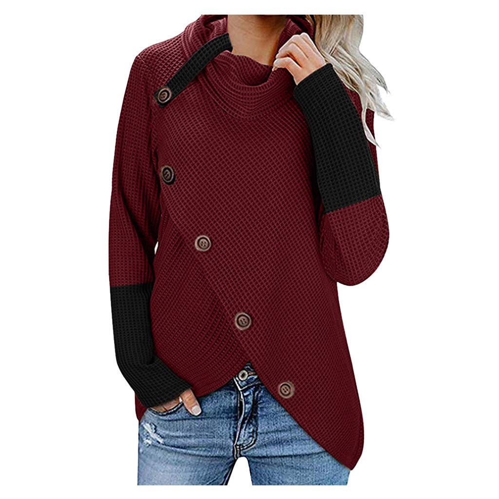 TUU Women t-Shirt Autumn Winter Patchwork Tops Button Cowl Neck Long Sleeve Inregular Blouse Sweatshirt Wine by TUU-Fashion Shirt
