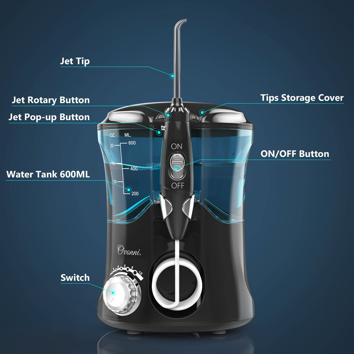 Ovonni Water Flosser - Dental Oral Irrigator with 10 Pressure Settings and 7 Interchangeable Jet Tips for Teeth, Braces and Bridges - High Capacity 600ML Water Tank for Whole Family Black