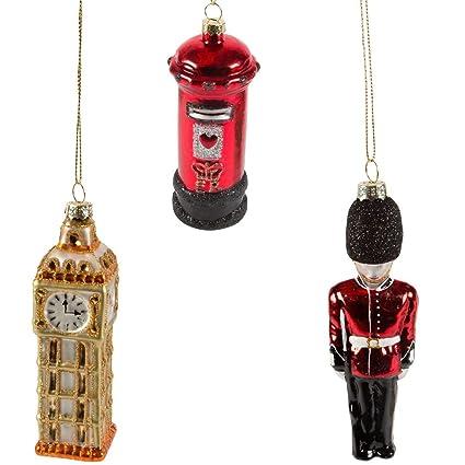 Decorazioni Natalizie Londra.Set Di 3 Per Natale Palline Colorate Ispirate A Londra Big Ben