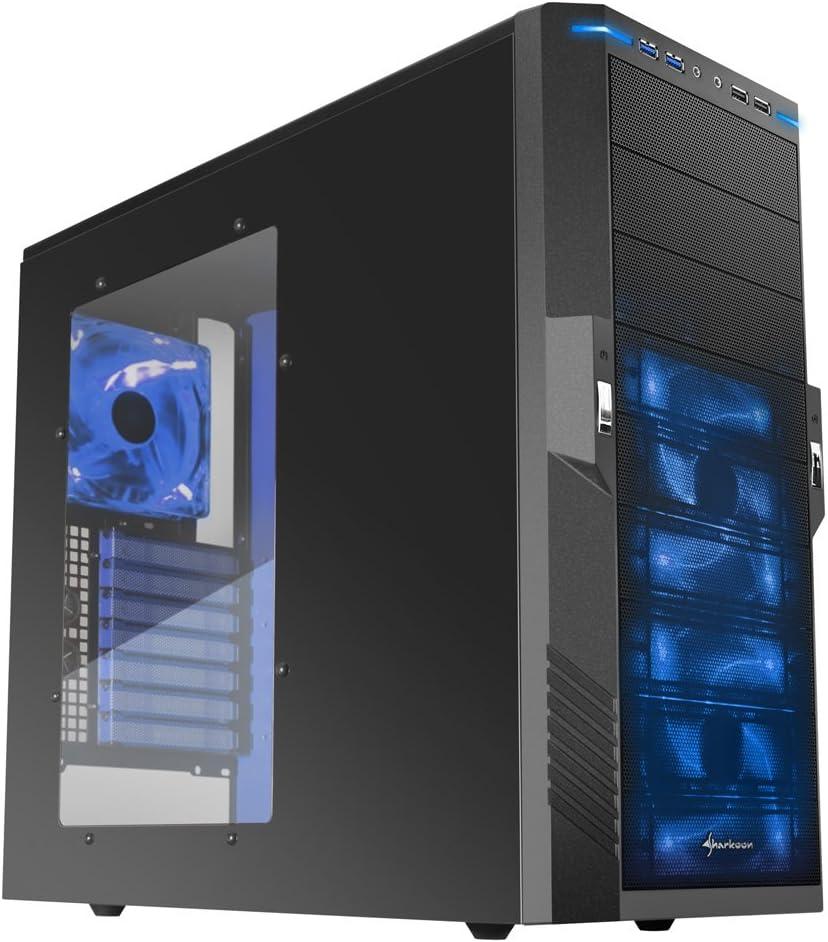 Sharkoon Midi-Tower - Caja de Ordenador de sobremesa (1 x USB 3.0, 3 x USB 2.0, Negro y Azul: Amazon.es: Informática