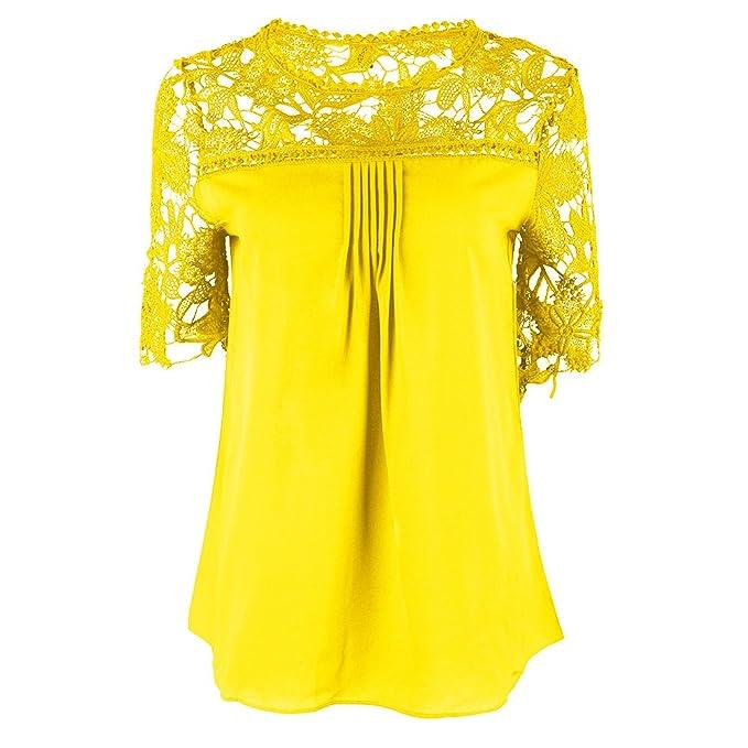 Mujer Blusas Tops Elegante Verano Splice Encaje Dulce Lindo Chic Corta Cuello Redondo Chiffon Blusa Color