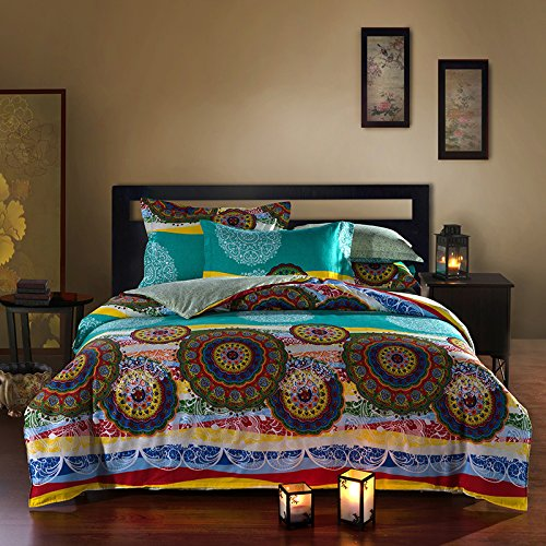 Best 4 Pieces Bohemian Exotic Style Floral Bedding Duvet Cover Sets Full Size Pattern3