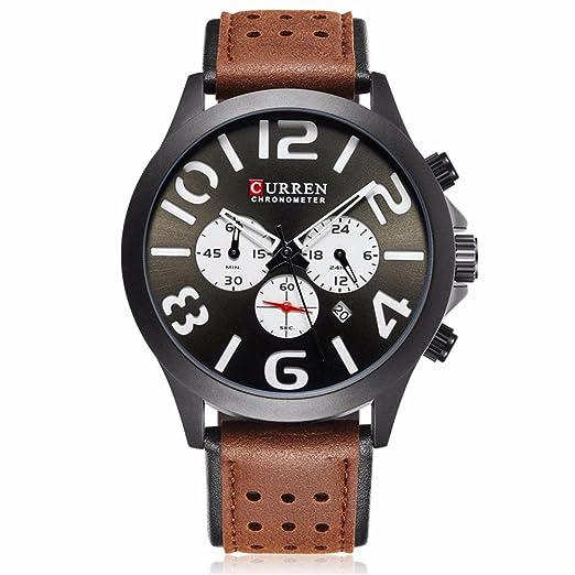CURREN 8244 marca de lujo deportes hombres relojes moda relojes de pulsera casuales para cuero Relogio Masculino: Amazon.es: Relojes