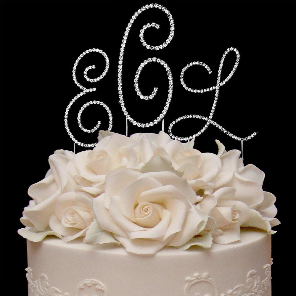 RaeBella Wedding Renaissance Monogram Wedding Cake Top SILVER Rhinestone Accent 3PC Letter Cake Topper Set + White Metal LOVE Design Photo Frame