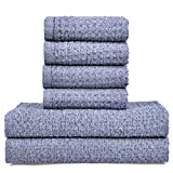 Vanca Bath Towels Sets Cotton Soft Durable Hand Large Shower Beach Absorbent Terry Gym Hotel Luxury Waffle Kids Towel (Navy Blue)