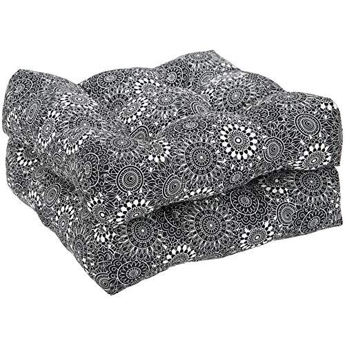 AmazonBasics Round Seat Patio Cushion, Set of 2 - Black Floral