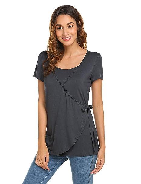 4ca7f26dffb3 BANAA Maglietta Premaman Donna Estive Eleganti Camicie a Bottoni T-Shirt  Moda Top Magliette Allattamento
