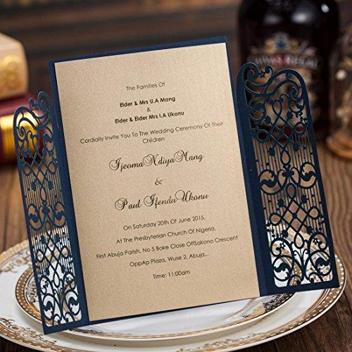Brides Wedding Invitation Kit: Wishmade Vintage Laser Cut Wedding Invitations Cards Blue