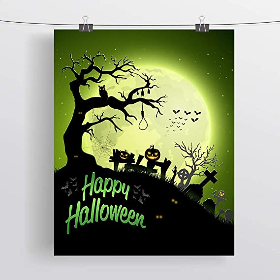 SUMGAR Halloween Art Prints Spooky Manor Black Silhouette Hallows Upcycled Paper Unframed Posters Set of 6-8x10s