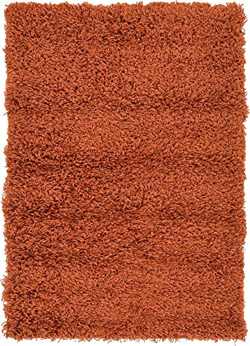 Unique Loom Solo Solid Shag Collection Modern Plush Terracotta Area Rug (2' 2 x 3' 0) (Terra Cotta Rug)