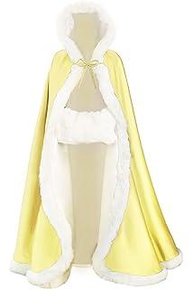 BEAUTELICATE Capa con Capucha Mujer Invierno Pelo Largo Poncho para Vestido de Novia Boda…