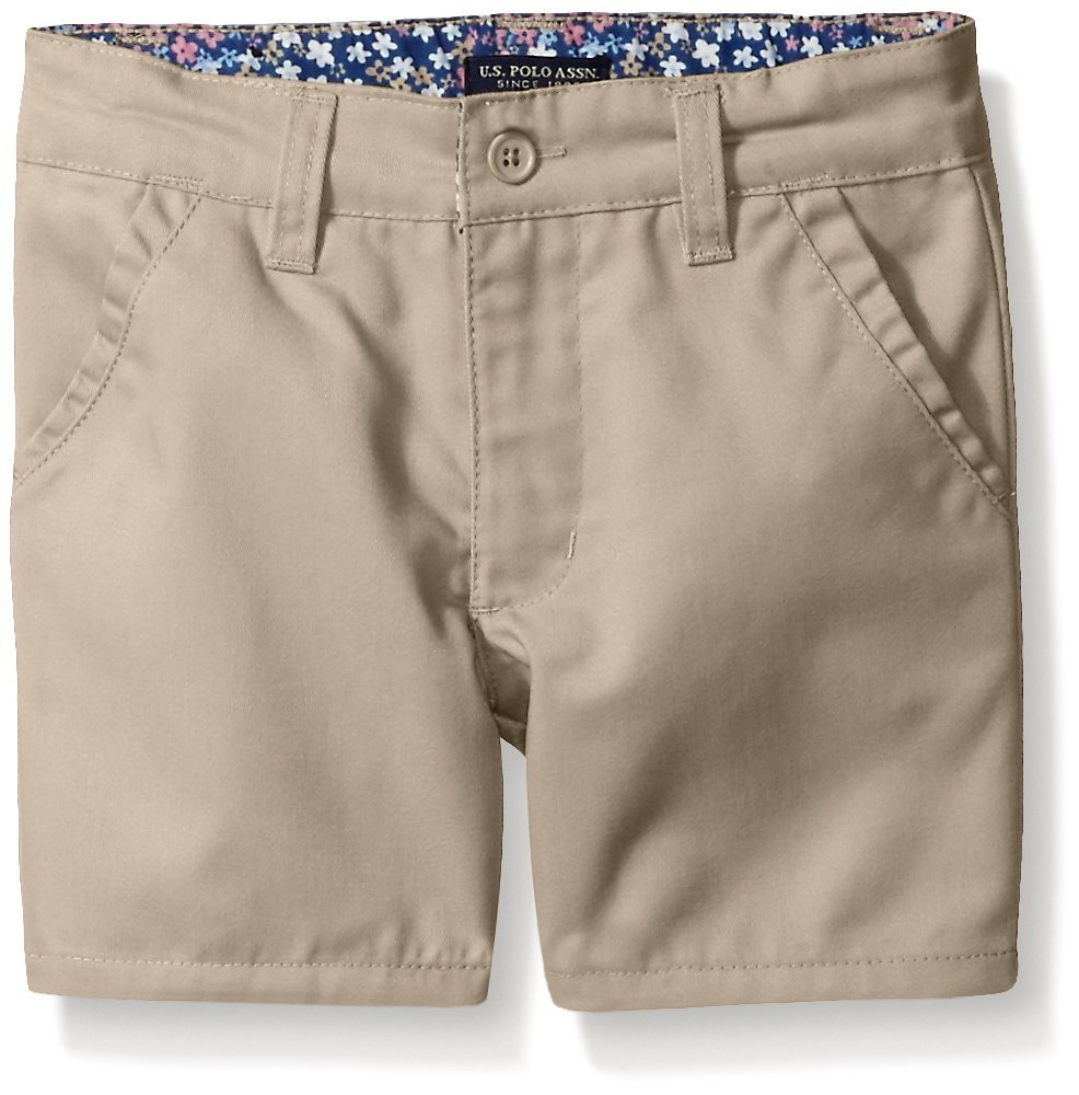 U.S. Polo Assn. Big Girls' Twill Short (More Styles Available), Khaki-AHEJ, 8