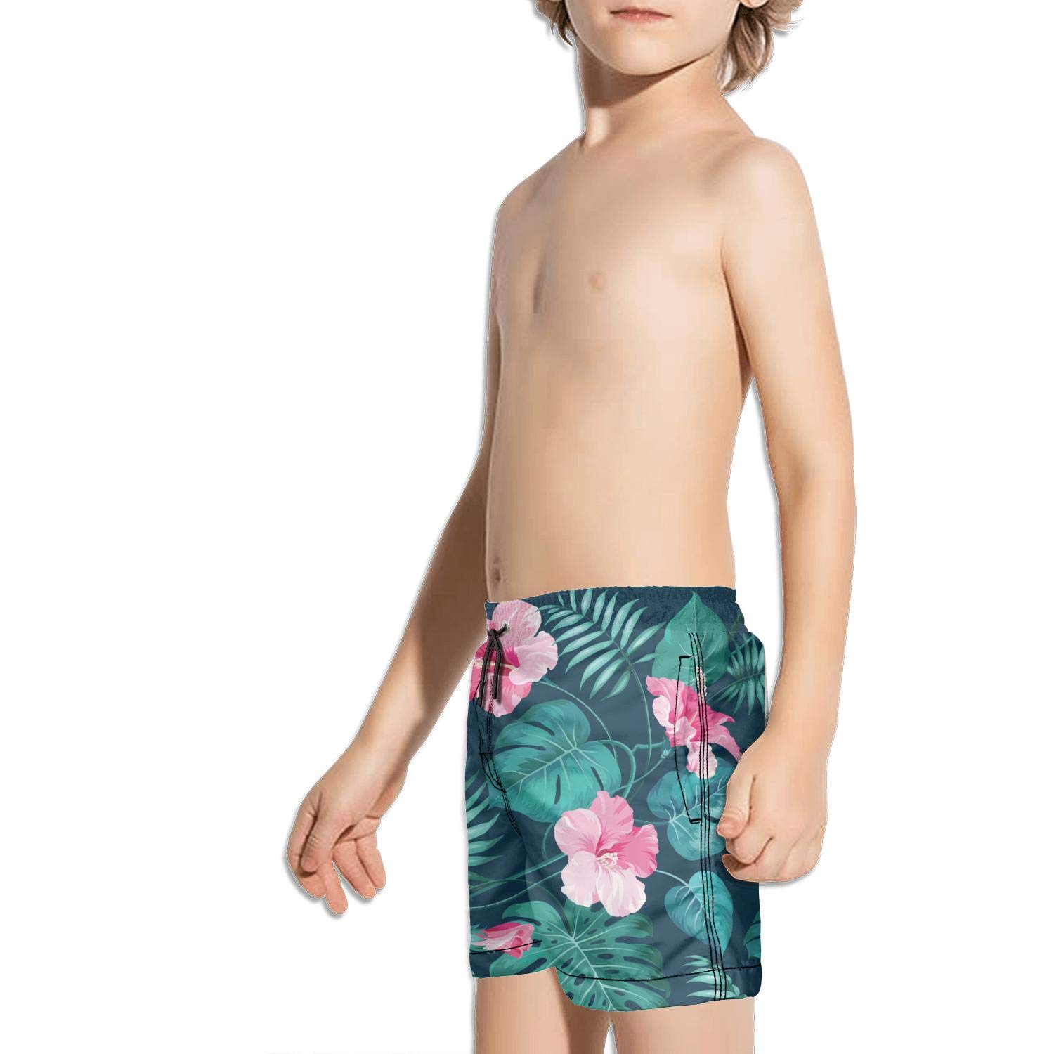 Boys Kids Green Hawaiian Tropical Hibiscus Flowers Quick Dry Beach Swim Trunk Unique Swimsuit Beach Shorts with Drawstring