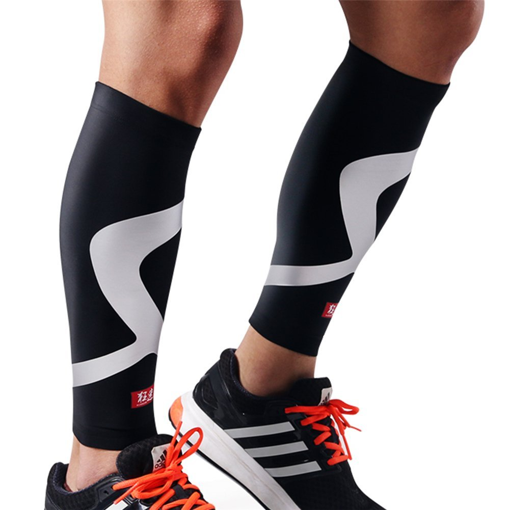 Genetic Los Angeles 1 Pair Compression Sleeves Support Sports Safety Running Shin Splint Brace Leg Socks Pad Shin Guard Soccer Basketball Fitness Protector Male Female (Black(Pack of 2), XXXL)