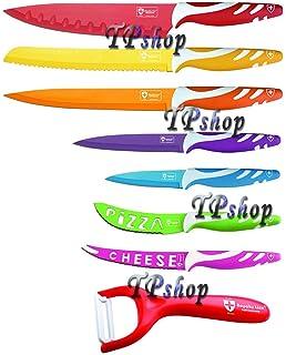 set 8 coltelli da cucina colorati extra taglienti confezione regalo