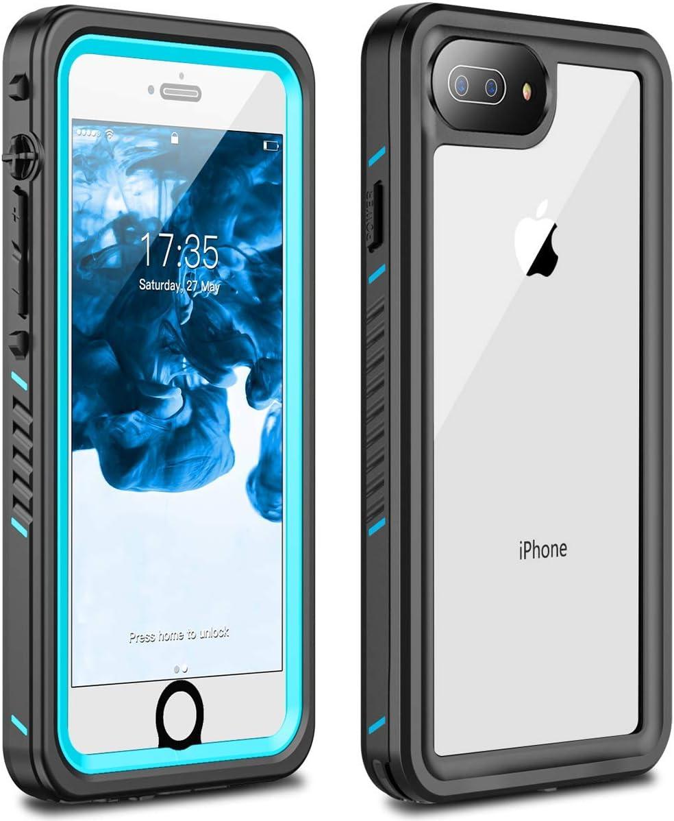ANTSHARE iPhone 7 Plus Waterproof Case, iPhone 8 Plus Waterproof Case Built-in Screen Protector 360 Full Body Shockproof Dirt-Proof IP68 Waterproof Rugged Cover for iPhone 7 Plus/8 Plus(5.5')(Blue)