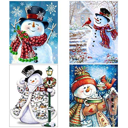 Topus 4 Pack 5D DIY Diamond Painting Kits Snowman Full Drill Rhinestone Embroidery Cross Stitch Painting for Christmas Home Decor