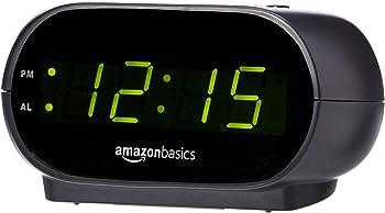 AmazonBasics Small Digital Alarm Clock with Nightlight and Battery Backup