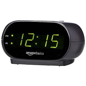 AmazonBasics Small Digital Alarm Clock with Nightlight and Battery Backup, LED Display