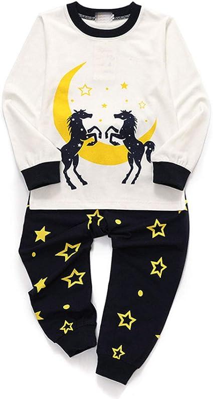CSLEEPWEAR Luna Y Caballo Impresión De Manga Larga Pijamas ...
