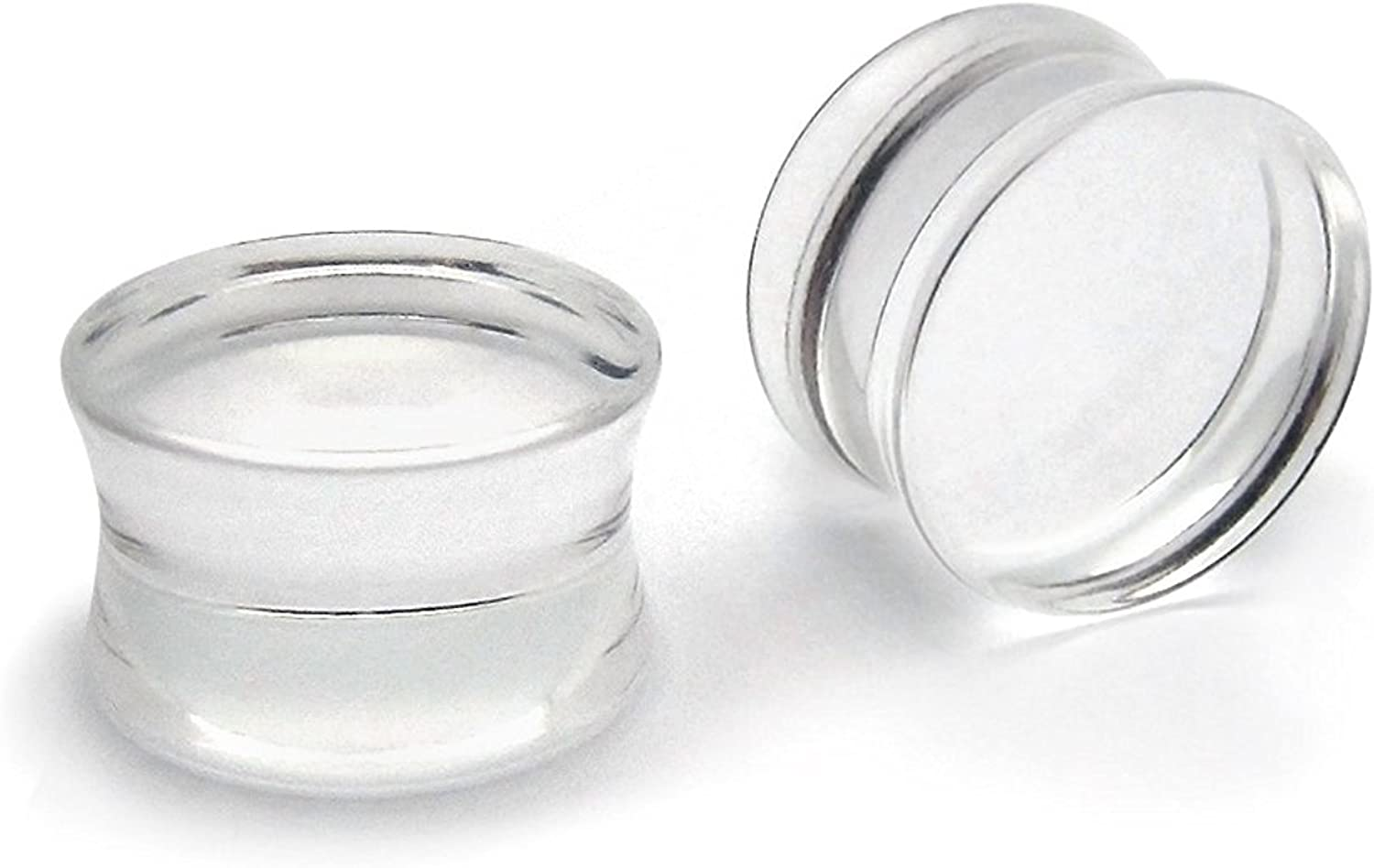 25mm UV Acrylic Ultra Clear Double Flared Saddle Plugs Choose From Multiple Sizes from 10GA to 1 2.5mm !