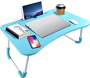 Portable Laptop Bed Table, Fordable Lap Desk with Cup Slot & Notebook Stand Breakfast Bed Trays for Eating and Laptops Book Holder Lap Desk for Floor,Couch, Sofa, Bed, Terrace, Balcony (Blue)
