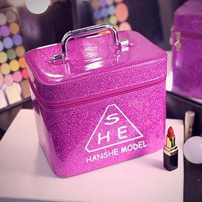 Bolsa de maquillaje grande Estuche de maquillaje Organizador de maquillaje a prueba de agua Bolsa de cosméticos portátil para artículos de tocador de viaje para mujeres,Lightpurple,24*16.5*19.5CM: Hogar