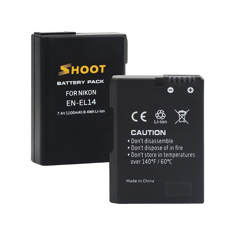 P7700 D5600 DF D5100 D5300 D3100 D3200 P7100 D5200 P7800 D3400 D3300 SHOOT EN-EL14 Paquet de 2 Batterie 1100mAh Chargeur Double USB Compatible avec Nikon Coolpix P7000
