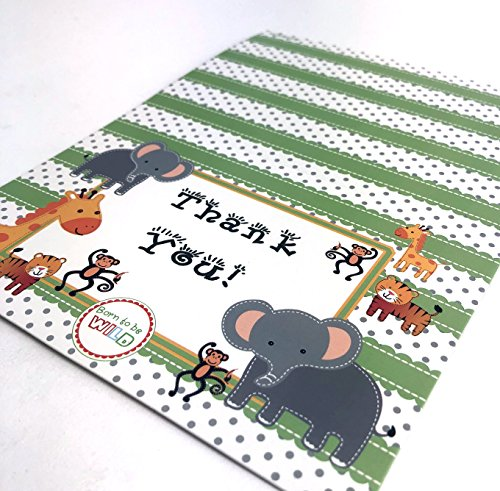 Baby Shower Thank You Jungle Zoo SafariBorn to be Wild Boy or Girl Cards 48 Pack Tytroy