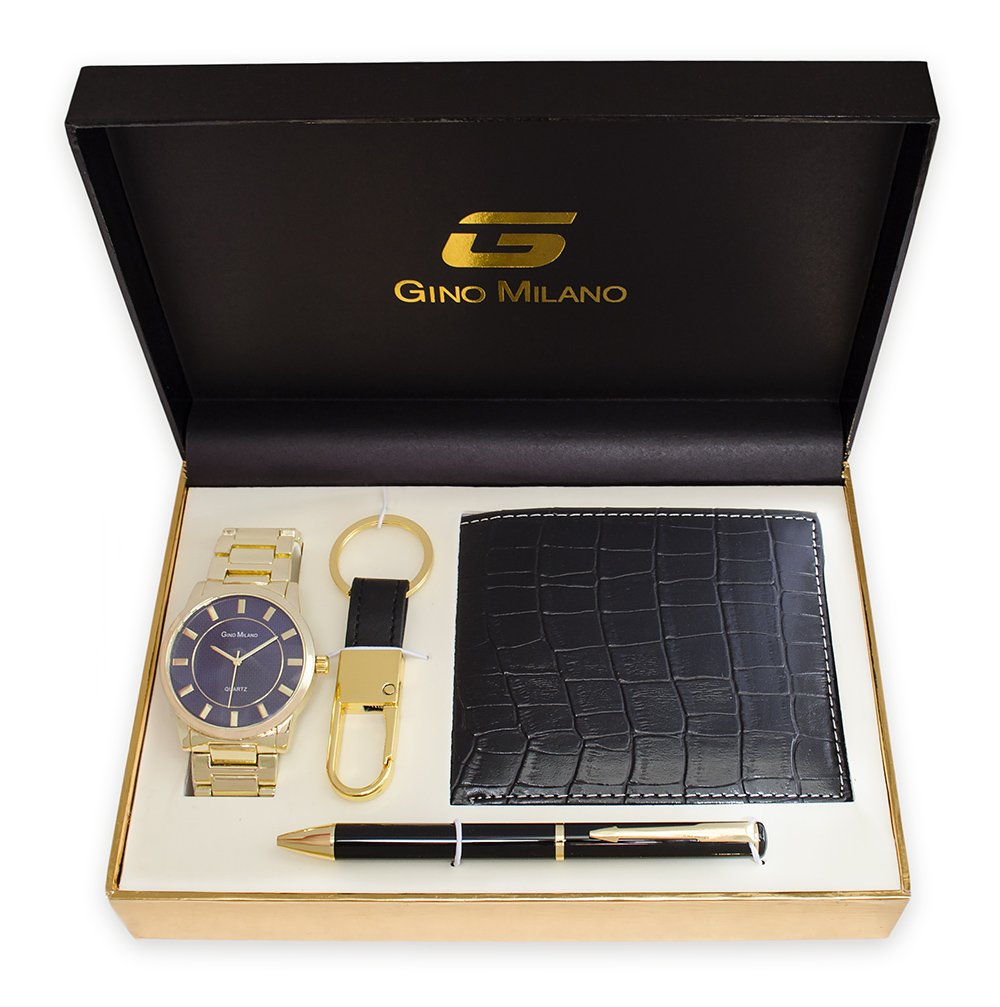 Men's Gold Watch Gift Set With Wallet, Pen & Key Chain (Blue Dial)