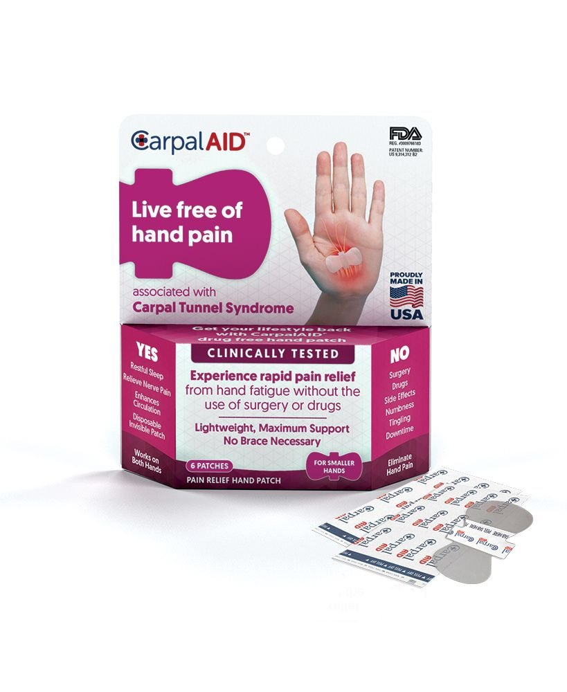 Carpal AID, Functional Support for Carpal Tunnel Syndrome - Best Carpal Tunnel Brace for Ultimate Relief, Count 6 - Size Small