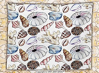 Seashells Decor Fleece Throw Blanket Seashell Clam Coral Watercolor Urchin Sealife Reef Creative Warm Weather Background Beach Theme Throw