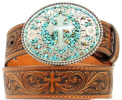 Nocona Girl's Stone Cross Buckle Belt, Brown, - Cowgirl Cross