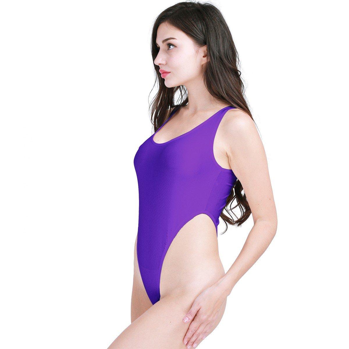 FEESHOW Women s One Piece High Cut Swimsuit Bodysuit Leotard Top Purple One  Size at Amazon Women s Clothing store  5cc3770f2d3b