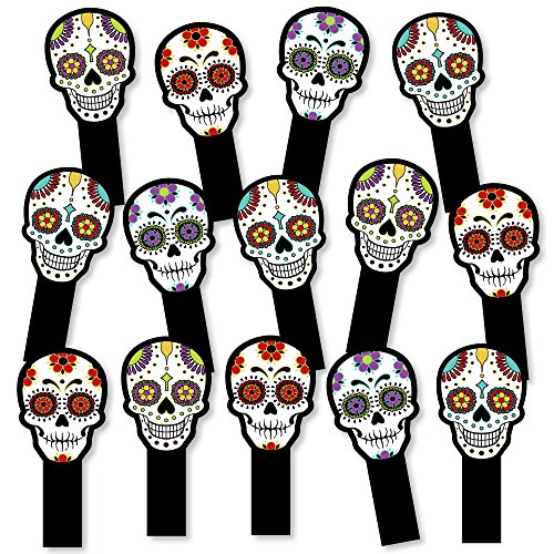 Big Dot of Happiness Day Of The Dead - Halloween Party Paddle Photo Booth Props - Selfie Photo Booth Props - Set of 14 by Big Dot of Happiness