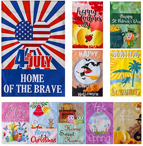 Durable 12 x 18 Inch Seasonal Garden Flag Set for Outdoors |
