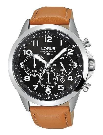 Lorus Reloj Cronógrafo para Hombre de Cuarzo con Correa en Cuero RT381FX9: Amazon.es: Relojes