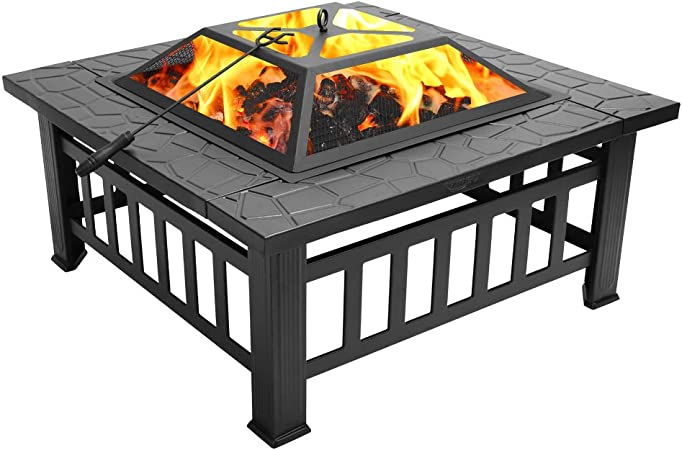 Amazon Com Fch 32 Metal Fire Pit Outdoor Backyard Patio Garden Square Stove Brazier With Charcoal Rack Poker Mesh Cover 32 L X 32 W X 17 H Garden