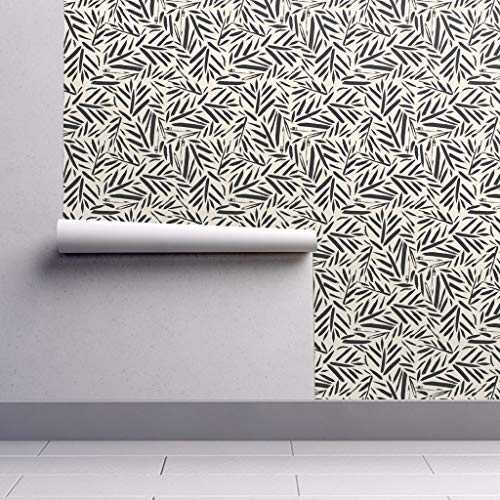 Peel-and-Stick Removable Wallpaper - Black and White Botanical Brush Stroke Texture Palm Leaves Organic Kni by Crystal Walen - 24in x 108in Woven Textured Peel-and-Stick Removable Wallpaper Roll