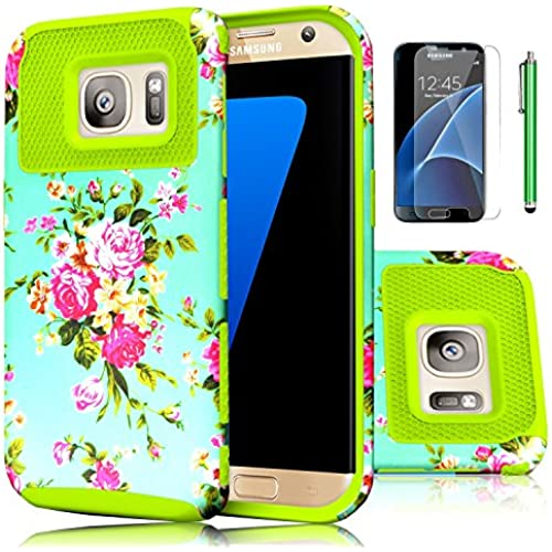 Galaxy S7 Case,EC 2-Piece Extra Slim Hybrid Dual Layer Hard Cover Case for Samsung Galaxy S7 2016 Release (Flower-Green) Sales