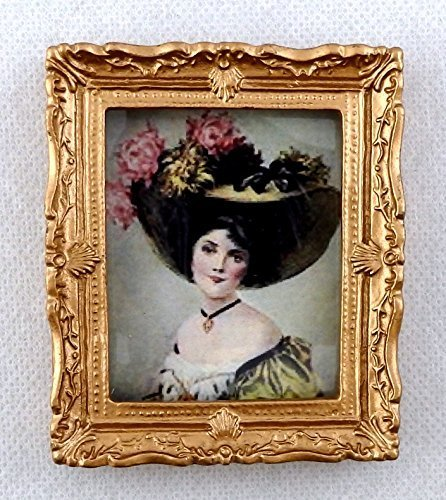 Melody Jane Dolls Houses House Miniature Accessory Victorian Lady Picture Painting Gold Frame