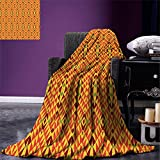 smallbeefly African Throw Blanket Oriental Geometric Symmetrical Composition Motifs of Antique Africa Inspirations Warm Microfiber All Season Blanket for Bed or Couch Multicolor