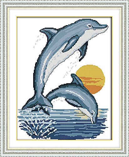 - CaptainCrafts Hot New Cross Stitch Kits Needlecrafts Patterns Counted Embroidery Kit - Two Little Dolphins (STAMPED)