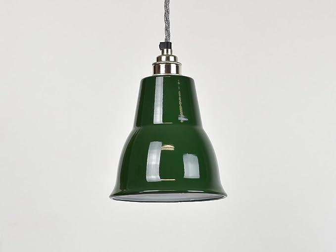 Lámpara de techo, esmalte industrial de cono verde clásico ...