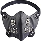 GelConnie Punk Leather Mask Motorcycle Biker Half Face Mask Anti-Dust Sport Mask