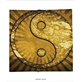 Custom printed Throw Blanket with Yin Yang Gold Decor Metallic Effect Industrial Design Printed Art Asian Powerful Ying Yang on Sunburst Pattern Gold Super soft and Cozy Fleece Blanket