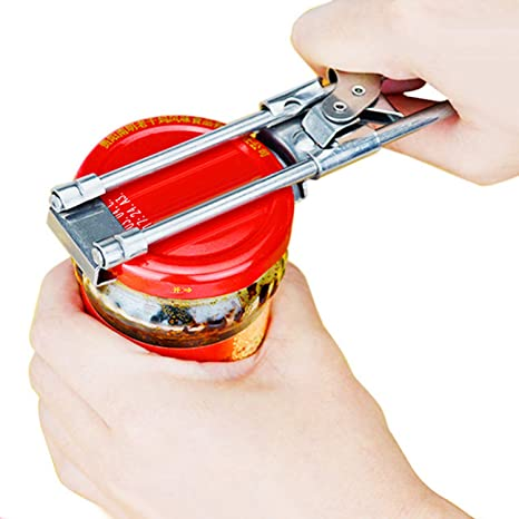 Manual Adjustable Stainless Steel Can Opener Bottle Jar Lid Gripper Kitchen Tool