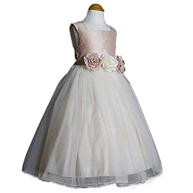 f10429a36e91 Amazon.com  Kid s Dream Big Girls Dusty Rose Silk Tulle Flower Girl ...