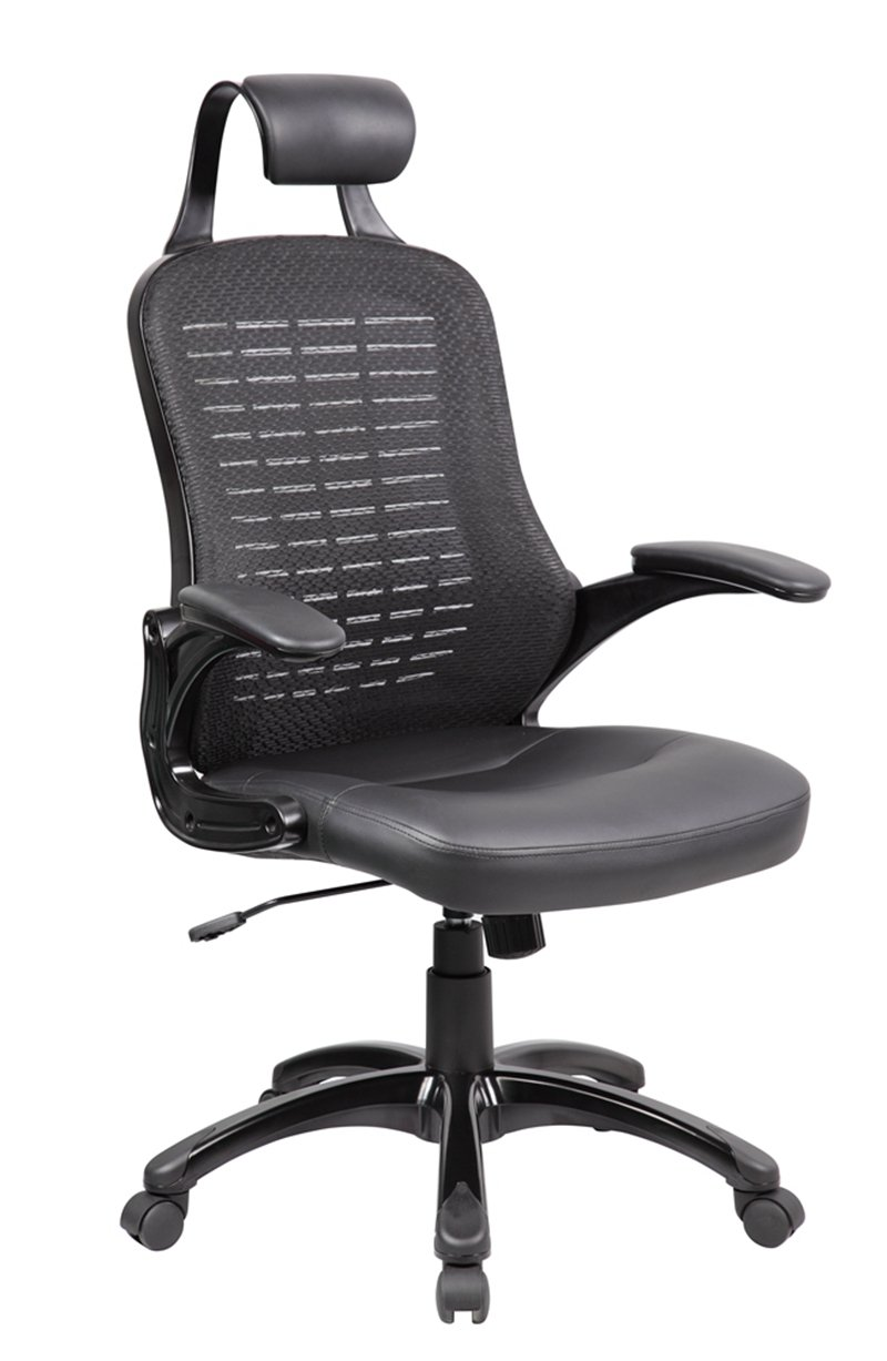 UnitedSeating High Back Mesh and PU Executive and Managerial Computer Desk Swivel Office Chair with Headrest